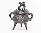 Japanese vintage cast metal incense burner, mid 20th century