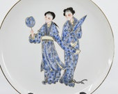Vintage Chinese porcelain plate,10 inches wide, 1940s