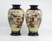 Vintage Japanese pair Satsuma cobalt blue hand painted porcelain ,mirror images vases,10 inches tall, mid 20th century