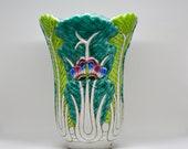 Chinese vintage porcelain vase bok choy pattern, large size , marked