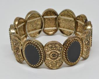 Black and Gold Tone Stretchable Bracelet