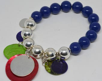 Charming Blue and Silver Tone Bracelet