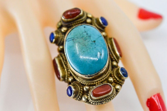 Antique Chinese huge mens ring, with turquoise, la