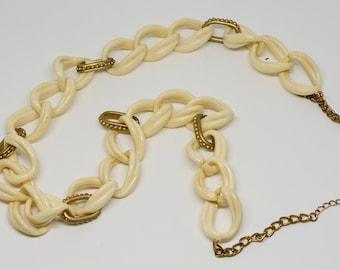 Bone Color plastic Large Link Necklace