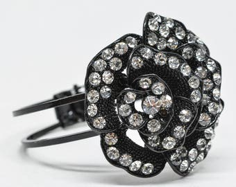 Lovely black tone and crystals cuff bracelet