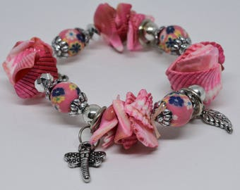Pink colored Sea shell Beaded Bracelet