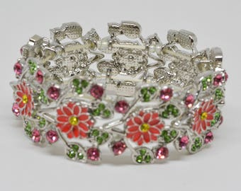 Gorgeous Silver Tone Bracelet With colorful Glass Stones