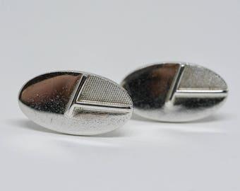 Silver tone cuff links