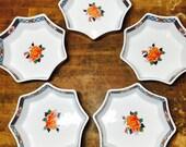 Vintage Imari Porcelain Floral Rose Set Of Five Stackable Rice Bowls