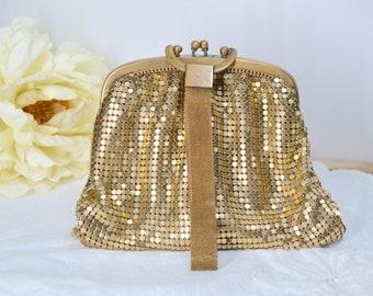 Clutch Purse, Clutch Bag, Purse, Clutch, Evening Clutch, Mesh handbag, Gold Mesh Clutch, Vintage Handbag, Vintage Clutch Bag, Gold Mesh