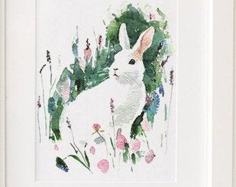Watercolor Bunny Painting Giclee Print  - Nursery Art - White rabbit -  archival art print, watercolor, nursery decor. bunny