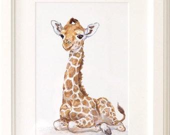 Giraffe nursery print - Giclee -Safari Nursery Art - Baby Giraffe Print - Baby Animal Print - Zoo Nursery Print - African animal art