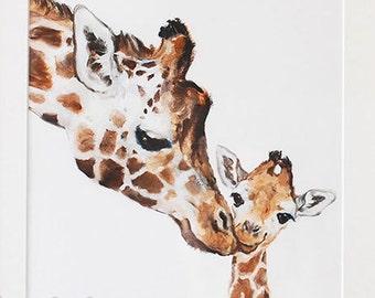 Giraffe Print Giraffe Nursery  Fine Art Print Giclee Giraffe Art Mother's Day Gift Mom and Baby Giraffe Safari Nursery Art Gift For Kids