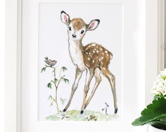 Deer Nursery Art Print,  Fawn Nursery, Baby Deer Print, Woodland Nursery , Giclee ,Forest Animal, Picture for Baby