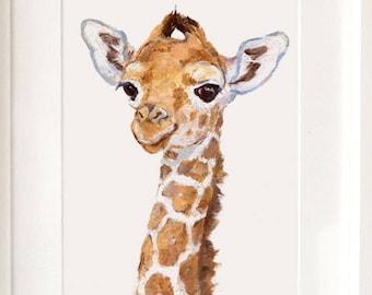 Giraffe portrait - Giclee -Safari Nursery Art - Baby Giraffe Print - Baby Animal Print - Zoo Nursery Print - African animal art