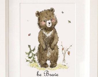 Be Brave Nursery Print Woodland Nursery Art baby Bear art print Bear Nursery Decor nursery wall art be brave little one irl nursery