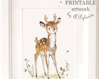 Printable Deer Fawn Download Digital Art Printable Art