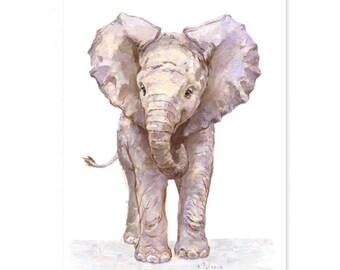 Elephant Nursery Print - Giclee -  Baby animal  Print - Safari Nursery Art - Elephant Nursery Art - Zoo Nursery Print