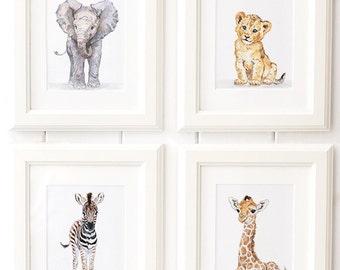 Safari Nursery Print Baby Animal Prints set wild animal African Animal Prints Giclee Baby Elephant Giraffe Lion Zebra Zoo animal prints