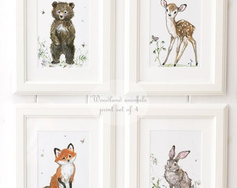 Woodland Animals Print set of 4 - Giclee - Woodland Nursery Art - Fawn Nursery decor - Forest Nursery Art - Bear - Rabbit - Fawn - Fox