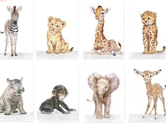 Safari Nursery Print set of 8, Safari Baby animals full collection , African Baby Animal Prints, Giclee, African Animal Art