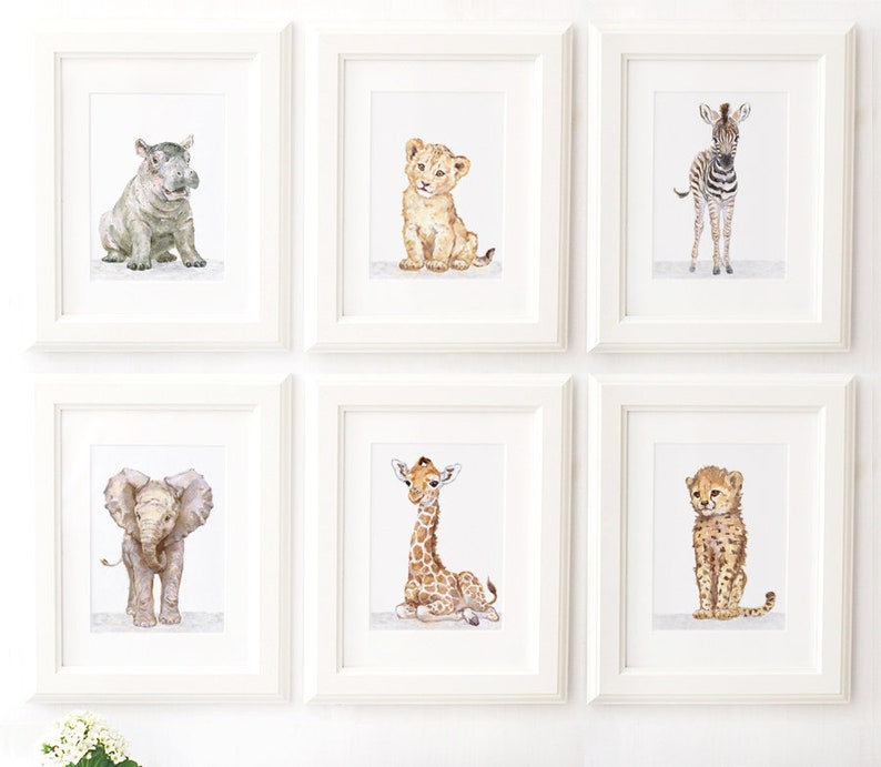 Safari Nursery Print set of 6 Safari animals  African Baby image 0