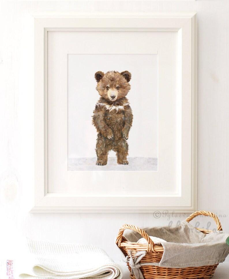 8 x 10 Inches Bear Nursery Art Nursery Woodland Bear Print Unframed