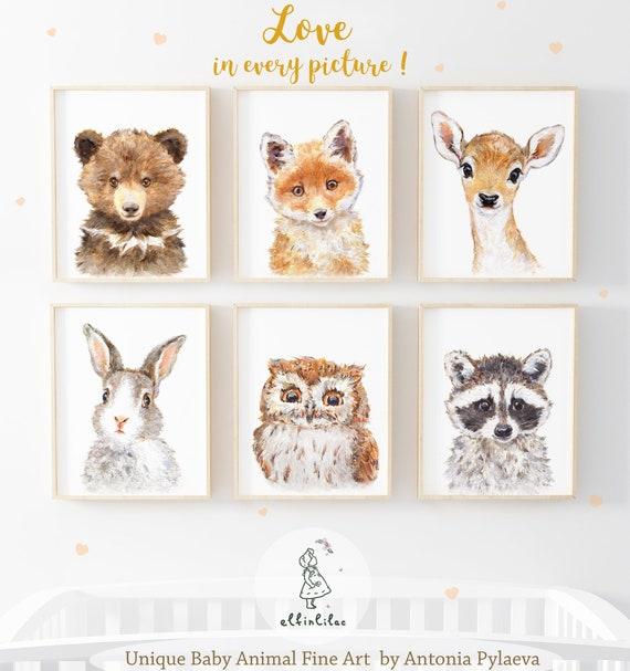 Wild Baby Animals Portrait Set of 6 Woodland Nursery Art