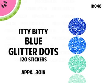 ITTY BITTY Blue Mini Glitter Dots Stickers | Faux Glitter | 120 Kiss Cut Stickers | 0.30 inch | IB048
