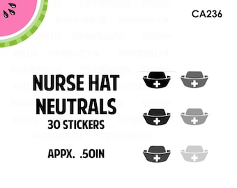 Nurse Hats Neutral Colored Stickers | 6 Colors | 30 Kiss Cut Stickers | 0.50 inch | CA236