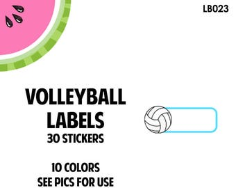 Volleyball Label Stickers | 30 Kiss-Cut Stickers | Volleyball Practice, Volleyball Game, Volleyball Tournament | LB023