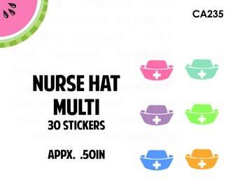 Nurse Hats Multi Colored Stickers | 6 Colors | 30 Kiss Cut Stickers | 0.50 inch | CA235