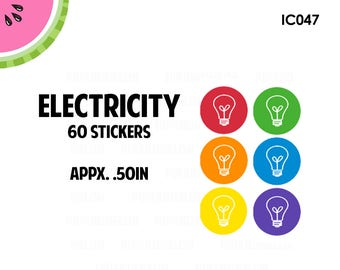 Electricity Utility Icon Stickers | 60 Kiss Cut Stickers | IC047