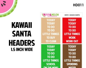 KAWAII SANTA Headers | Tiny Bites Stickers | 28 Kiss-Cut Stickers | White Space, Functional Planning | HD011
