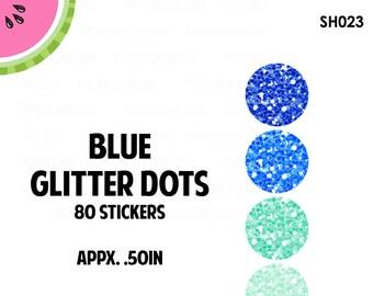Blue Glitter Dots Stickers | Faux Glitter | 80 Kiss Cut Stickers | 0.50 inch | SH023