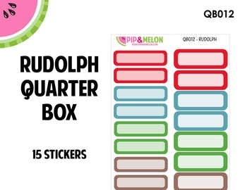 RUDOLPH Quarter Box Labels | Tiny Bites Stickers | 15 Kiss-Cut Stickers | White Space, Functional Planning | QB012