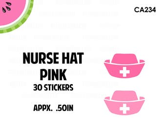 Pink Nurse Hats Stickers | 2 Colors | 30 Kiss Cut Stickers | 0.50 inch | CA234