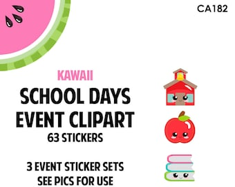 NEW! KAWAII School Days Event Clipart Regular Size | Track Teacher Conference, School Events, Class Projects | 63 Die-Cut Stickers | CA182