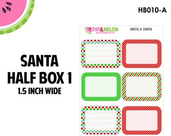 SANTA Half Box 1 | Tiny Bites Stickers | 6 Kiss-Cut Stickers | White Space, Functional Planning | HB010-A