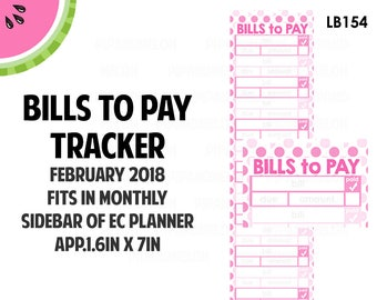 FEBRUARY 2018 Monthly BILLS Tracker Stickers | Vertical Color Palette | LB154