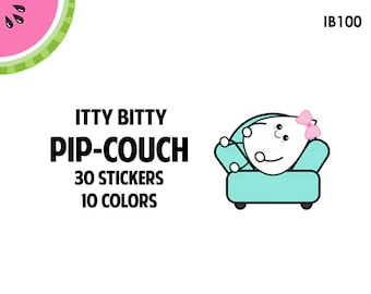 Lil Pips ON THE COUCH Lazy Day Sticker Set | Itty Bitty | 30 Kiss-Cut Stickers | Fits most Planners | IB100