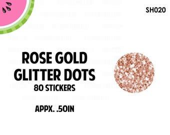 Rose Gold Glitter Dots Stickers | Faux Glitter | 80 Kiss Cut Stickers | 0.50 inch | SH020