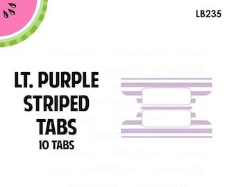 Light Purple STRIPED Tab Stickers  | 10 Kiss-Cut Stickers | Planner Tabs, Midori Tabs, Bible Tabs, Divider Tabs, War Binder Tabs | LB235
