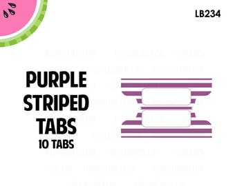 Purple STRIPED Tab Stickers  | 10 Kiss-Cut Stickers | Planner Tabs, Midori Tabs, Bible Tabs, Divider Tabs, War Binder Tabs | LB234