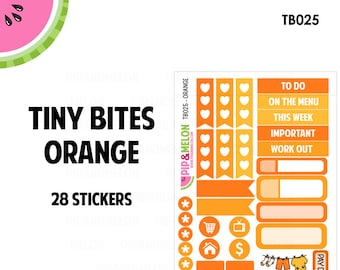Orange Tiny Bites Stickers | 28 Kiss-Cut Stickers | White Space, Functional Planning | TB025