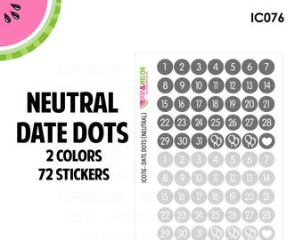 Neutral Date Dot Stickers | 2 Colors | 72 Kiss Cut Stickers | .35 inch | Small Planners, Inserts | IC076