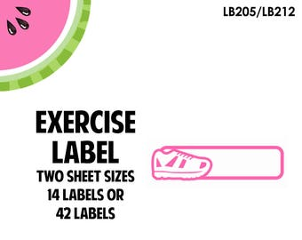 Exercise Label Stickers / Blank Label, Steps, Running, Walking, Work Out // LB205, LB212