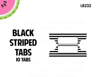 Black STRIPED Tab Stickers  | 10 Kiss-Cut Stickers | Planner Tabs, Midori Tabs, Bible Tabs, Divider Tabs, War Binder Tabs | LB232
