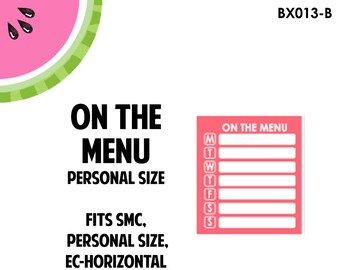 Personal Size - On The Menu Meal Planning Sticker | Die-Cut Stickers| Personal Size, Horizontal, TN, Pocket Planners | BX013B