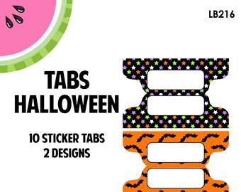 Halloween Tab Stickers  | 10 Kiss-Cut Stickers | Planner Tabs, Midori Tabs, Bible Tabs, Divider Tabs, War Binder Tabs | LB216